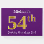[ Thumbnail: Purple, Faux Gold 54th Birthday Party; Custom Name Guest Book ]
