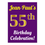 [ Thumbnail: Purple, Faux Gold 55th Birthday Celebration + Name Invitation ]