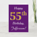 [ Thumbnail: Purple, Faux Gold 55th Birthday + Custom Name Card ]
