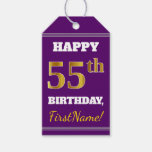 [ Thumbnail: Purple, Faux Gold 55th Birthday + Custom Name Gift Tags ]