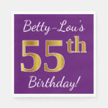[ Thumbnail: Purple, Faux Gold 55th Birthday + Custom Name Paper Napkin ]