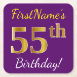 [ Thumbnail: Purple, Faux Gold 55th Birthday + Custom Name Paper Coaster ]