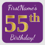 [ Thumbnail: Purple, Faux Gold 55th Birthday + Custom Name Sticker ]