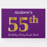 [ Thumbnail: Purple, Faux Gold 55th Birthday Party; Custom Name Guest Book ]