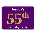 [ Thumbnail: Purple, Faux Gold 55th Birthday Party; Custom Name Invitation ]