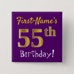 [ Thumbnail: Purple, Faux Gold 55th Birthday, With Custom Name Button ]