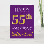 [ Thumbnail: Purple, Faux Gold 55th Wedding Anniversary + Name Card ]