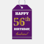 [ Thumbnail: Purple, Faux Gold 56th Birthday + Custom Name Gift Tags ]