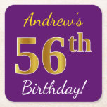 [ Thumbnail: Purple, Faux Gold 56th Birthday + Custom Name Paper Coaster ]