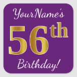 [ Thumbnail: Purple, Faux Gold 56th Birthday + Custom Name Sticker ]