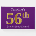[ Thumbnail: Purple, Faux Gold 56th Birthday Party; Custom Name Guest Book ]