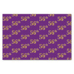 [ Thumbnail: Purple, Faux Gold 56th (Fifty-Sixth) Event Tissue Paper ]