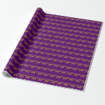 [ Thumbnail: Purple, Faux Gold 56th (Fifty-Sixth) Event Wrapping Paper ]