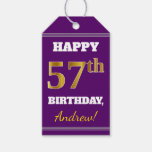 [ Thumbnail: Purple, Faux Gold 57th Birthday + Custom Name Gift Tags ]