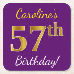 [ Thumbnail: Purple, Faux Gold 57th Birthday + Custom Name Paper Coaster ]