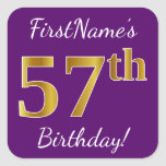 [ Thumbnail: Purple, Faux Gold 57th Birthday + Custom Name Sticker ]