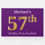 [ Thumbnail: Purple, Faux Gold 57th Birthday Party; Custom Name Guest Book ]