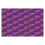 [ Thumbnail: Purple, Faux Gold 57th (Fifty-Seventh) Event Tissue Paper ]