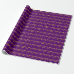[ Thumbnail: Purple, Faux Gold 57th (Fifty-Seventh) Event Wrapping Paper ]