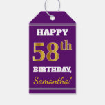 [ Thumbnail: Purple, Faux Gold 58th Birthday + Custom Name Gift Tags ]