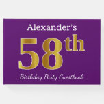 [ Thumbnail: Purple, Faux Gold 58th Birthday Party; Custom Name Guest Book ]
