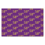 [ Thumbnail: Purple, Faux Gold 58th (Fifty-Eighth) Event Tissue Paper ]