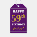 [ Thumbnail: Purple, Faux Gold 59th Birthday + Custom Name Gift Tags ]