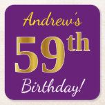 [ Thumbnail: Purple, Faux Gold 59th Birthday + Custom Name Paper Coaster ]