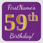 [ Thumbnail: Purple, Faux Gold 59th Birthday + Custom Name Sticker ]