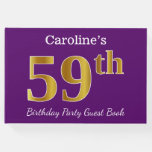 [ Thumbnail: Purple, Faux Gold 59th Birthday Party; Custom Name Guest Book ]