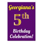 [ Thumbnail: Purple, Faux Gold 5th Birthday Celebration + Name Invitation ]