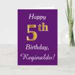 [ Thumbnail: Purple, Faux Gold 5th Birthday + Custom Name Card ]