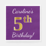 [ Thumbnail: Purple, Faux Gold 5th Birthday + Custom Name Napkin ]
