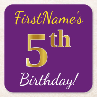 Purple, Faux Gold 5th Birthday + Custom Name Square Paper Coaster