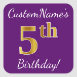 [ Thumbnail: Purple, Faux Gold 5th Birthday + Custom Name Sticker ]