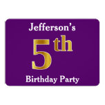 [ Thumbnail: Purple, Faux Gold 5th Birthday Party + Custom Name Invitation ]