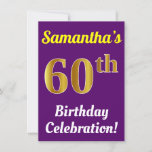 [ Thumbnail: Purple, Faux Gold 60th Birthday Celebration + Name Invitation ]