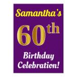 [ Thumbnail: Purple, Faux Gold 60th Birthday Celebration + Name Invitation ]