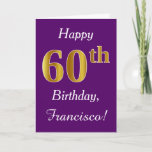 [ Thumbnail: Purple, Faux Gold 60th Birthday + Custom Name Card ]