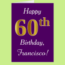 Purple, Faux Gold 60th Birthday   Custom Name Card