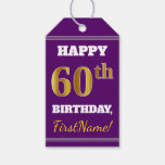 [ Thumbnail: Purple, Faux Gold 60th Birthday + Custom Name Gift Tags ]