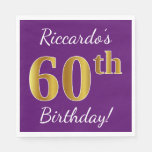 [ Thumbnail: Purple, Faux Gold 60th Birthday + Custom Name Paper Napkin ]