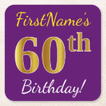 [ Thumbnail: Purple, Faux Gold 60th Birthday + Custom Name Paper Coaster ]