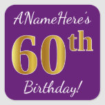 [ Thumbnail: Purple, Faux Gold 60th Birthday + Custom Name Sticker ]