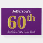 [ Thumbnail: Purple, Faux Gold 60th Birthday Party; Custom Name Guest Book ]