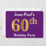 [ Thumbnail: Purple, Faux Gold 60th Birthday Party; Custom Name Invitation ]