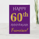 [ Thumbnail: Purple, Faux Gold 60th Wedding Anniversary + Name Card ]