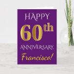 [ Thumbnail: Purple, Faux Gold 60th Wedding Anniversary + Name Card ]
