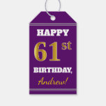 [ Thumbnail: Purple, Faux Gold 61st Birthday + Custom Name Gift Tags ]