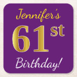 [ Thumbnail: Purple, Faux Gold 61st Birthday + Custom Name Paper Coaster ]